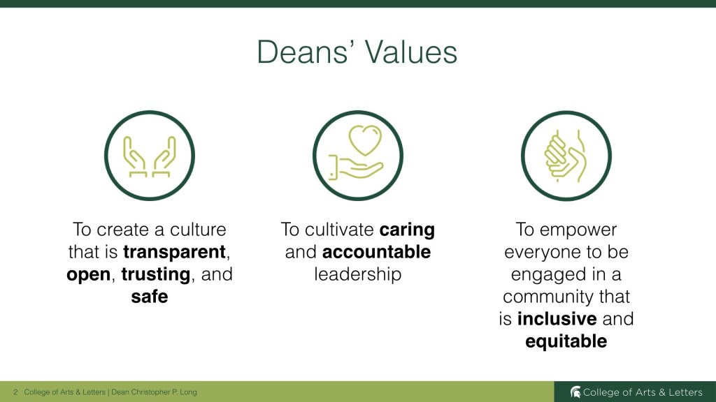 list of the three Dean's Values with small graphics