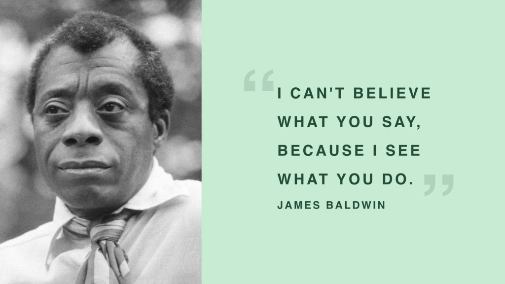 Photo of James Baldwin with a quote of his