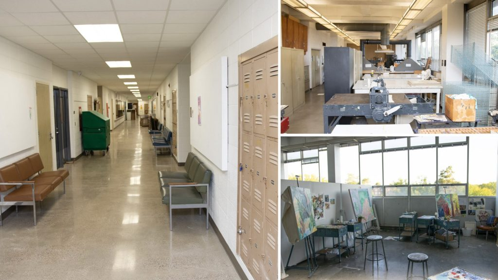 Collage of rooms and hallways at the Kresge Art Center Building