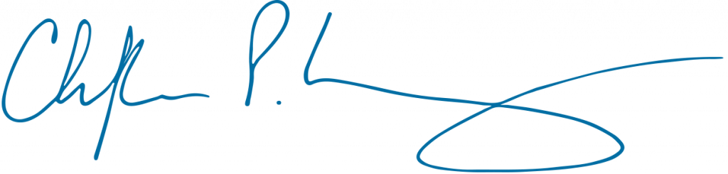 Blue signature of Dean Christopher P. Long