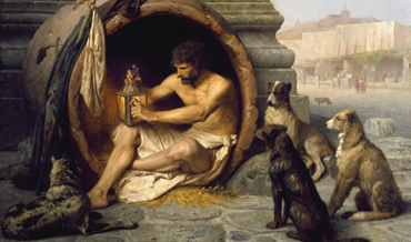 a painting of a man with dogs