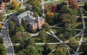 Aerial shot of MSU's campus