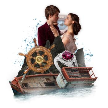 Graphic for Twelfth Night with a man and a woman embracing, a ship sinking, a ruby ring, and a ship wheel