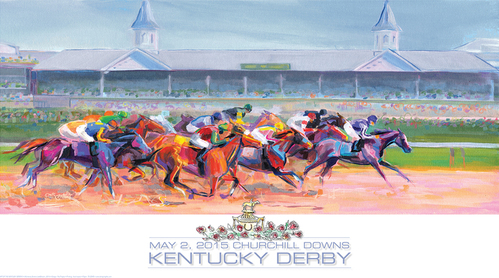 a graphic that shows the kentucky derby, there are horses racing in the image