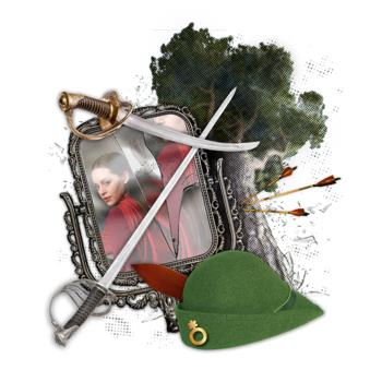 Graphic for Marian, or The True Tale of Robin Hood: cartoon tree, swords, and a robin hood hat with a mirror showing a girl in a red cape