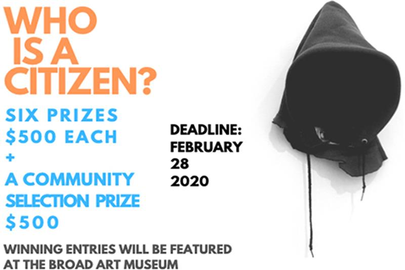 poster for who is a citizen contest with a black hood graphic