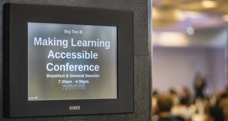 "green graphic with a spartan head and ""accessible learning conference Michigan State University"" written on it"
