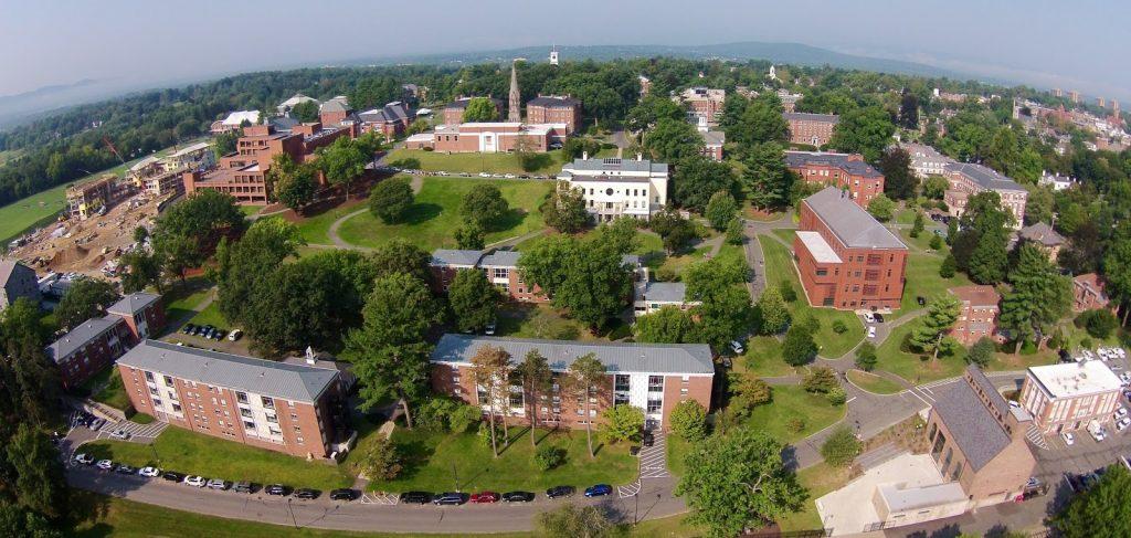aerial shot of Amherst college's campus