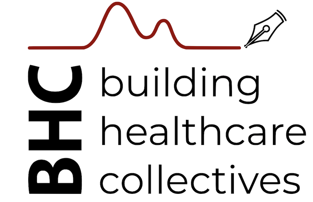 """Graphic of a pen with a red line trailing from it and black text that says """"BHC building healthcare collectives"""" on a white background"""