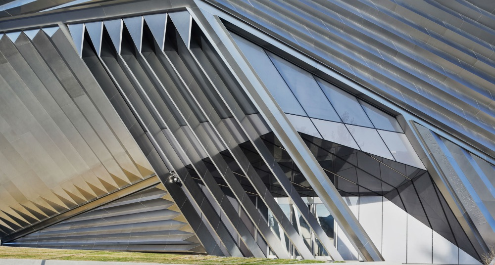 Abstract geometrical building made of metal