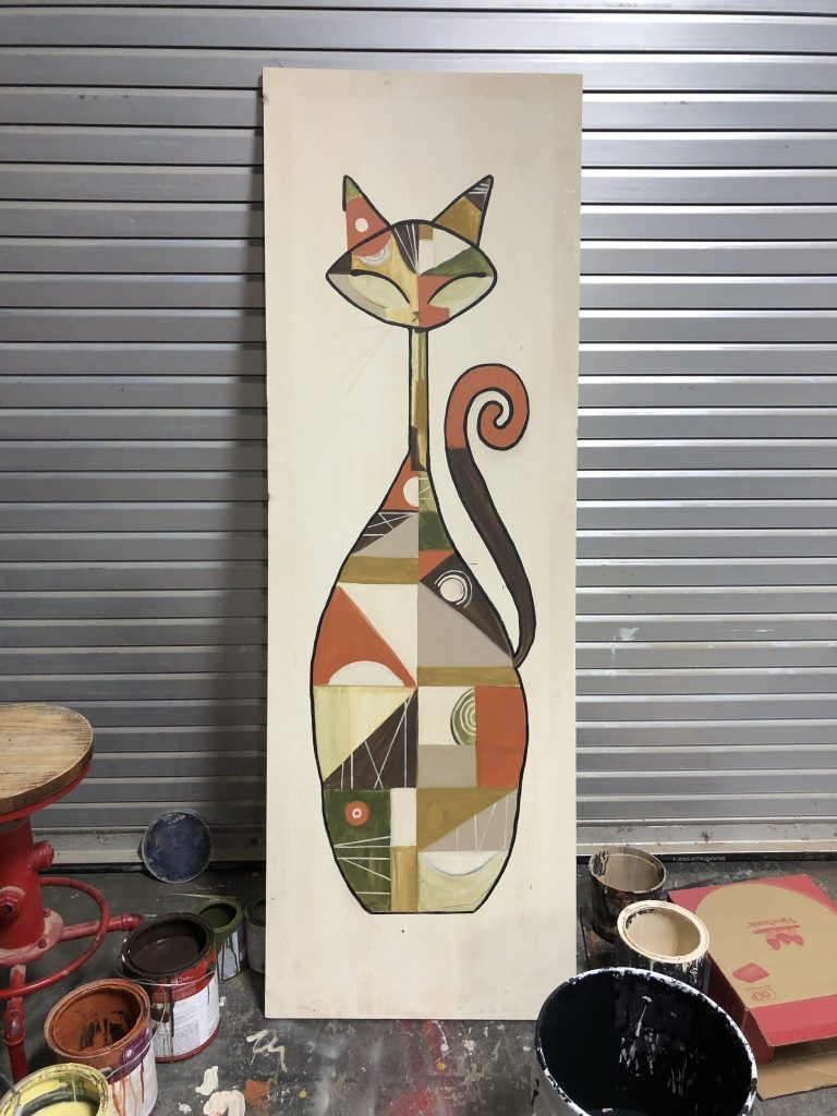 abstract painting of a cat