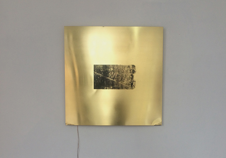 Alejandro T. Acierto, Taft's own, 2016 Screenprint on brass, surface mount transducer