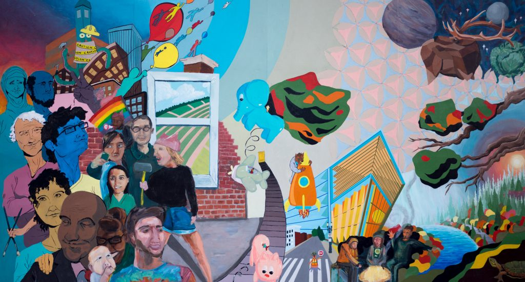 Brightly painted mural with imagery depicting people, a city, nature.