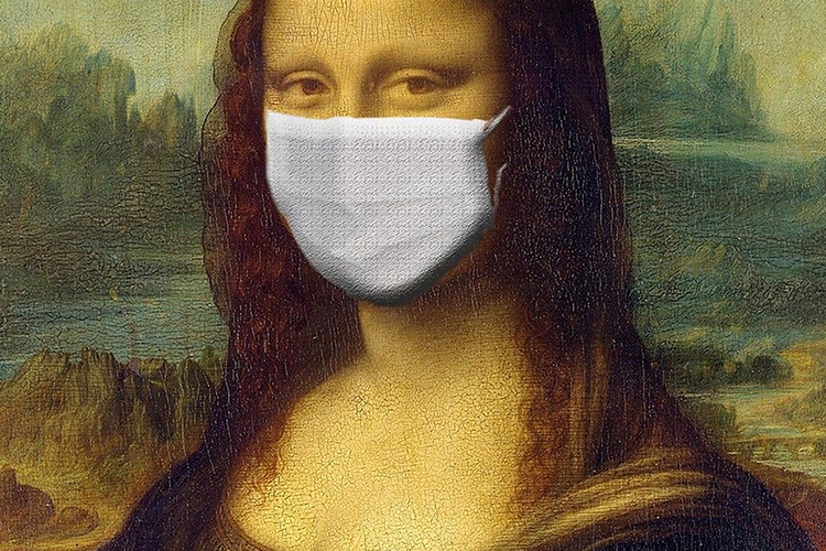 The mona lisa with a medical mask on