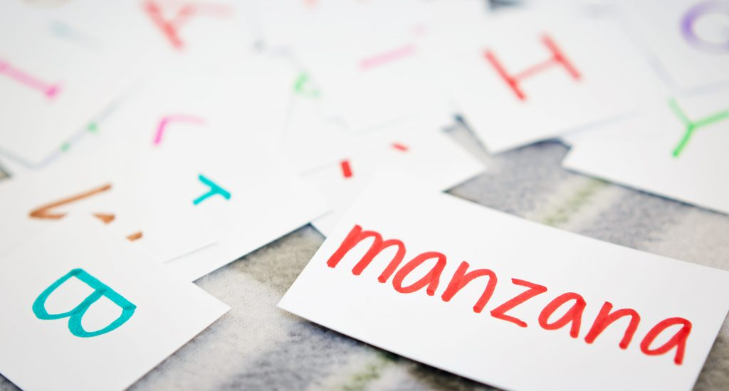 Spanish word flash cards sitting on table