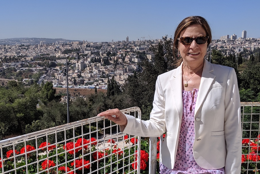 woman wearing sunglasses, a pink and purple shirt and a white blazer who's standing in front of a fence with a city in the background