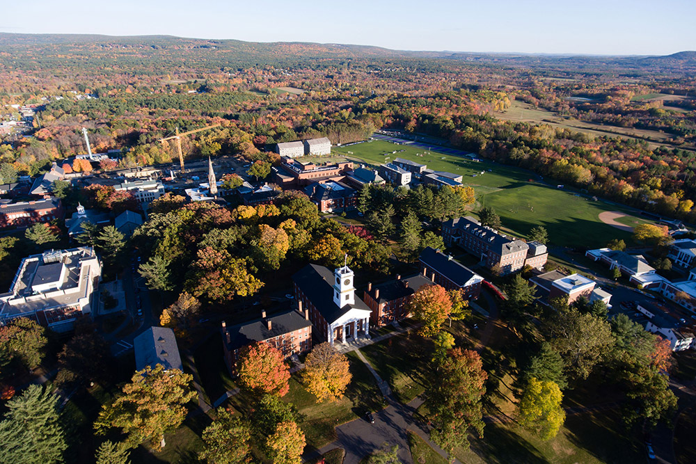 aerial image of Amherst College