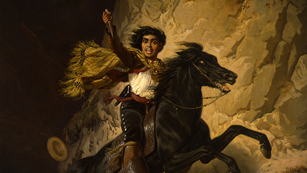 painting of a man riding a black horse