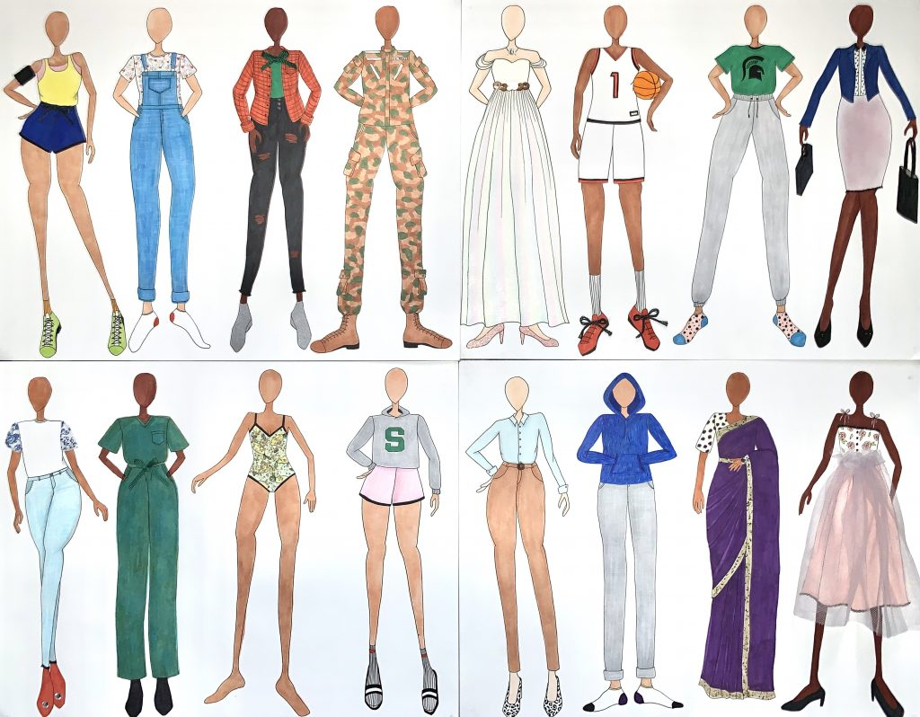 drawing of bodies wearing different clothes with a white background