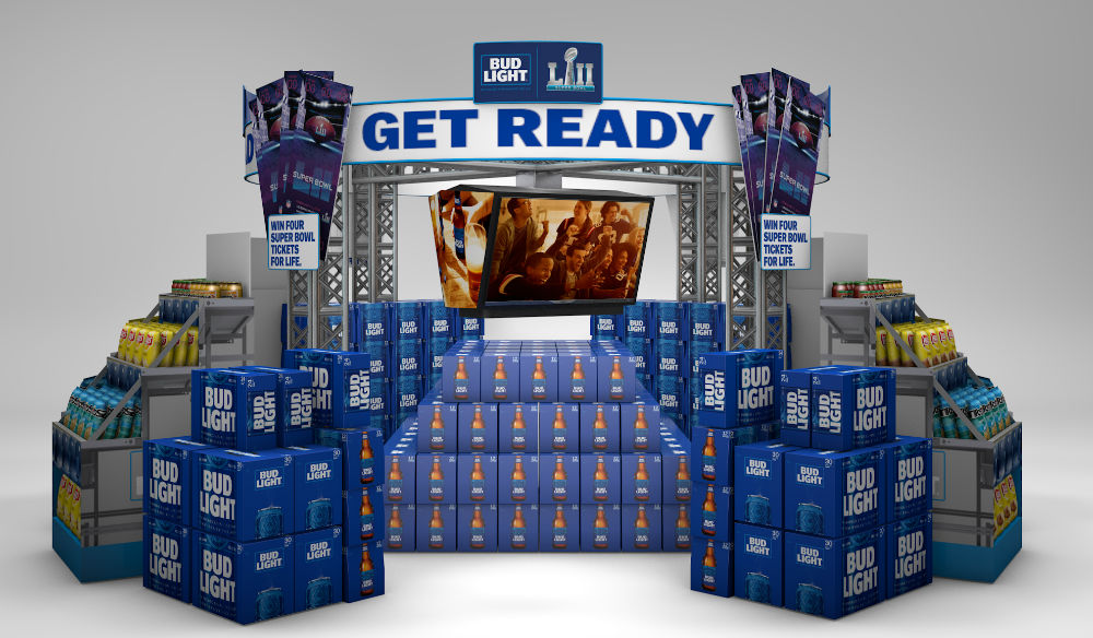 bud light boxes in the shape of the super bowl stadium