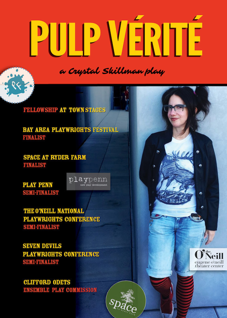 "poster that says ""pulp verite"" and has a photo of a woman with pigtails on it"