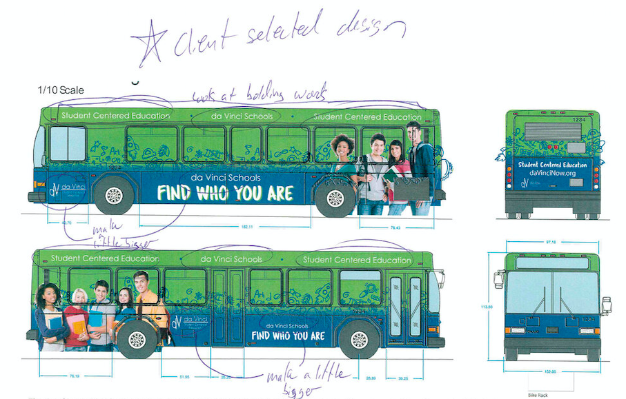 Photo of a student's graphic design work for a bus, which is green and blue and has photos of students on the side.
