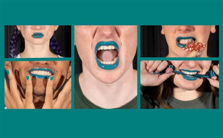 five people only showing lower part of their faces with blue lips