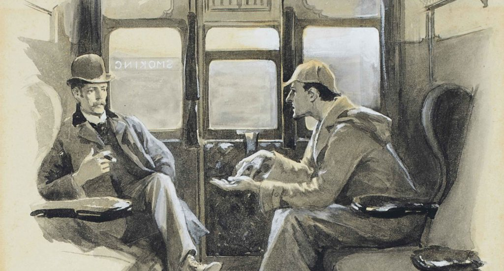 old drawing of two men on a train