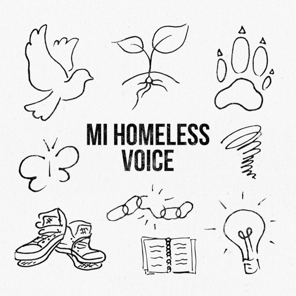 "Album cover with white background and eight illustrations surrounding the words ""MI Homeless Voice"""