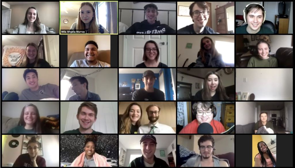 group of students talking over zoom