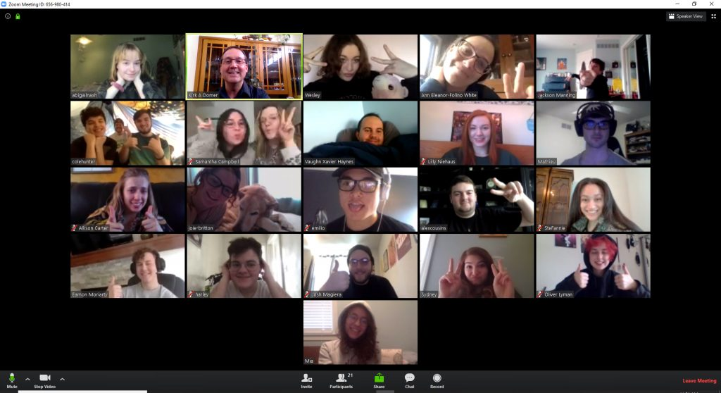Students gathered in an online class for THR 292