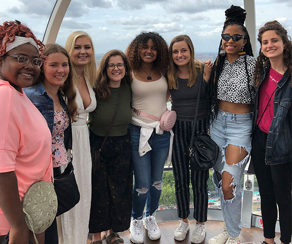 Group of eight women on the London Eye