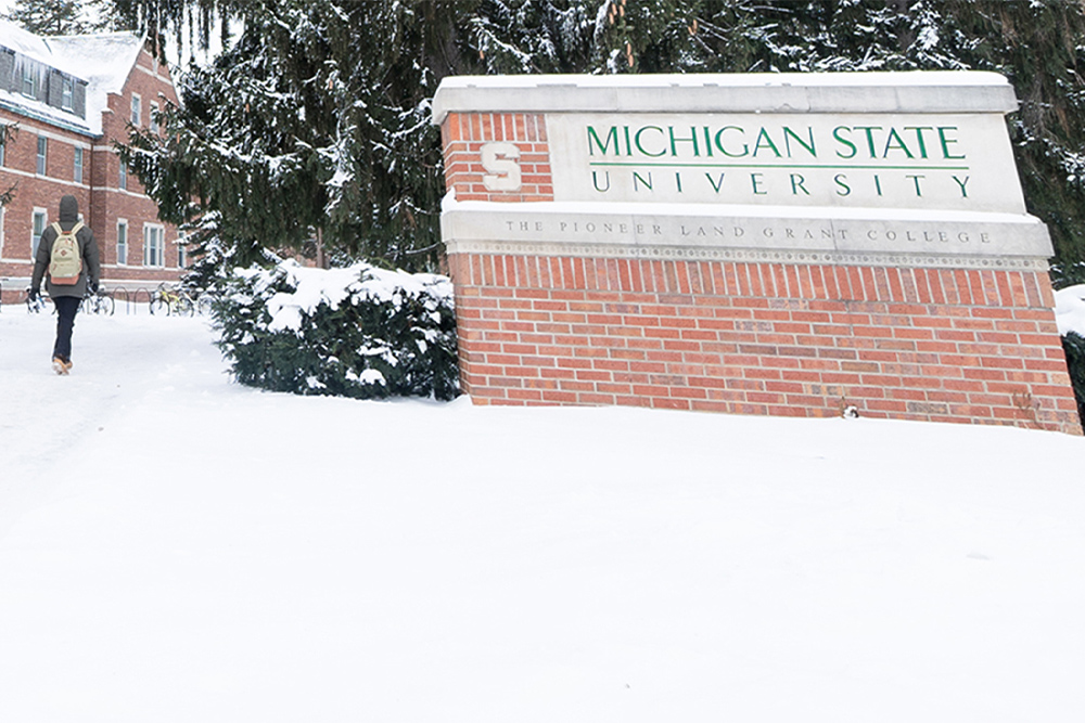 Michigan State University sign in the winter