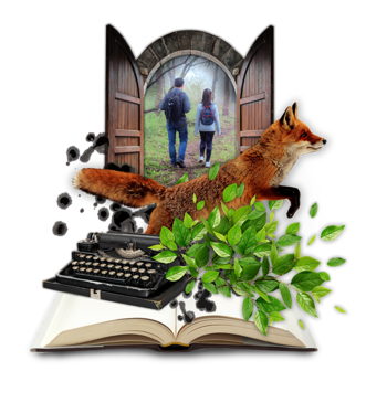 Graphic of an open wooden door with two people walking in a forest. A fox, typewriter, leaves, and a book are all overlapped over the door