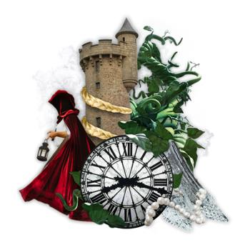 Graphic for Into the Woods including a brown castle, green vines, a person in a red cape, and a clock
