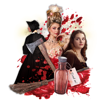 Graphic for Bonnets: How Ladies of Good Breeding are Induced to Murder including photos of two women, blood stains, a potion bottle, and a woman with her back turned in a black hat and cape. There is also an axe in the middle of the women