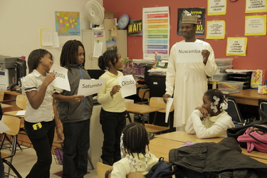 students during a teaching lesson in a classroom