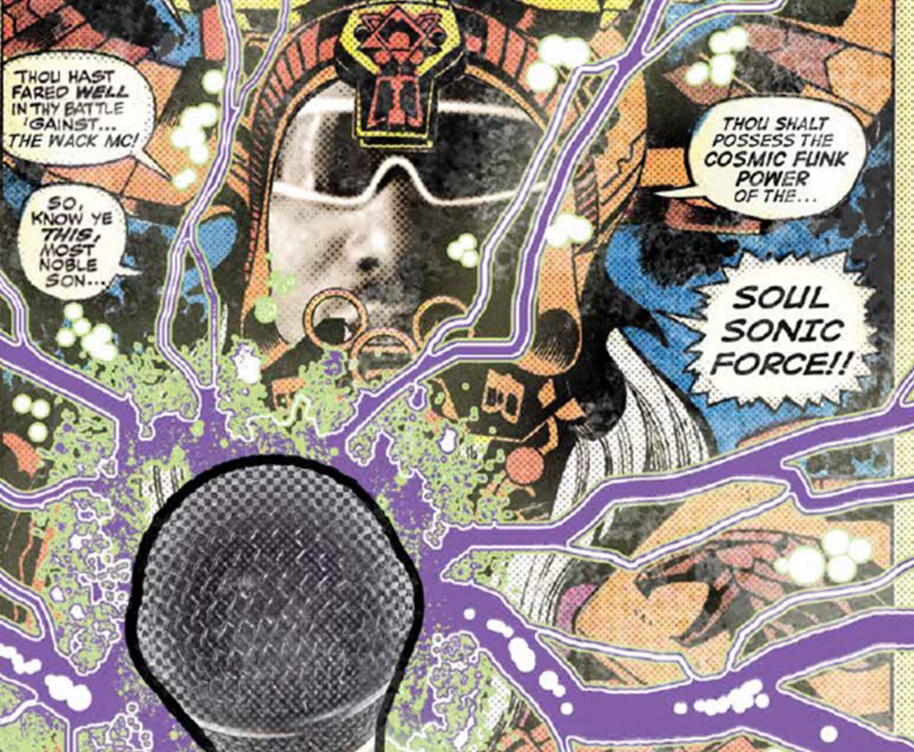 comic page with a microphone and three speech bubbles surrounding a man in the middle wearing a crown