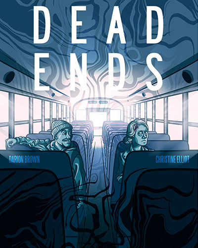 Graphic of 'Dead Ends' navy blue poster. A man (left) and a woman (right) sit across from each other on a school bus.