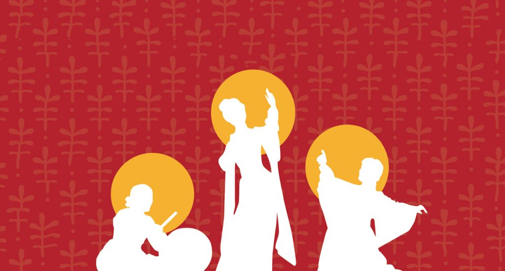 illustration of three white silhouettes on yellow circles on red background
