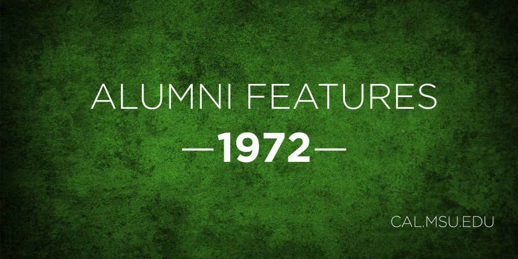 """graphic with green textured background and text """"alumni features - 1972"""""""