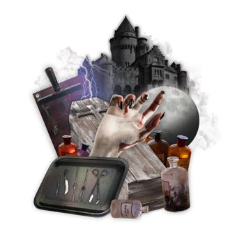 Graphic for Frankenstein with photos of a black castle, a hand with blood dripping down from it, a full moon, potion bottles, and a medical tray