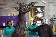 Studio Art Student Helps Create Life-Size Snare Art Giraffe