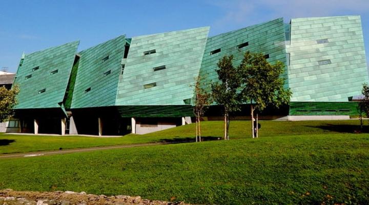 green glass building