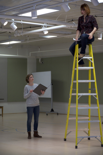 an image of a woman holding a clip board and instructing a person on the top of a ladder