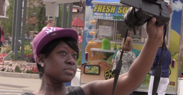 woman filming herself