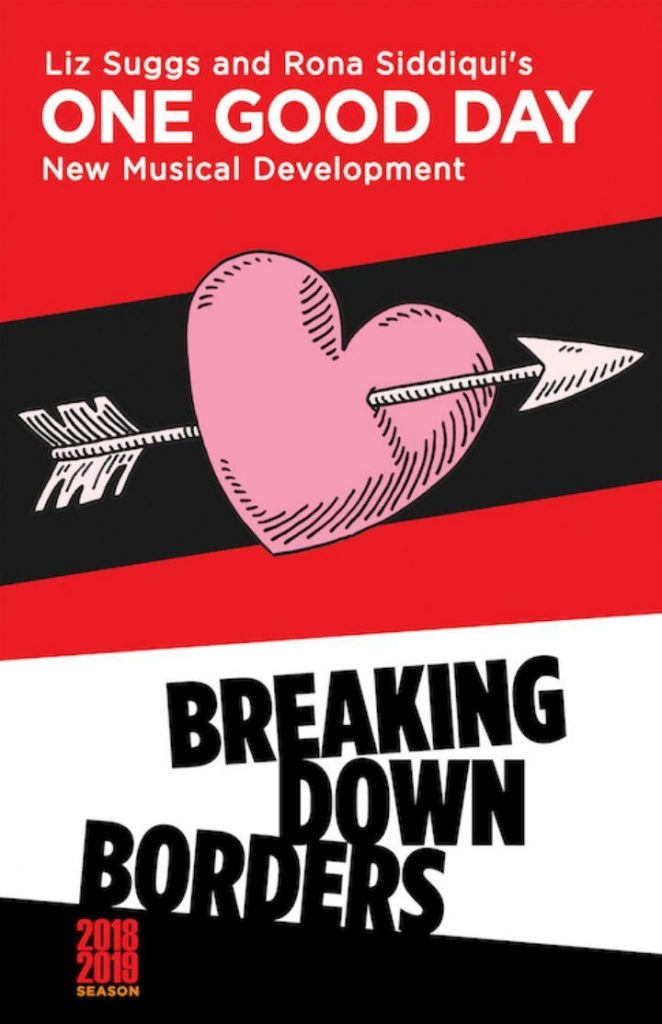"Large flyer with a heart and an arrow titled ""Breaking Down Borders"""