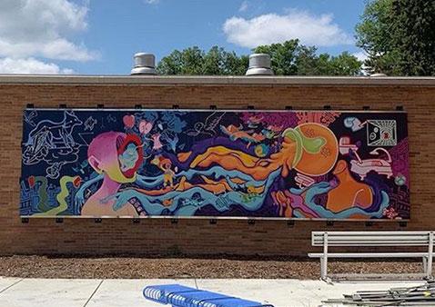 Students Create Mural at Kresge Art Center