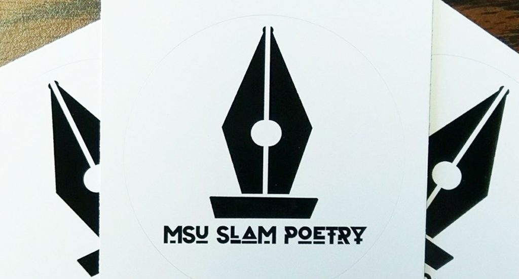 black vintage pen tip graphic with MSU Slam Poetry underneath