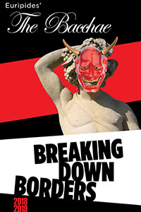"Red and black flyer with a statue wearing a devil mask titled ""The Bacchae"""